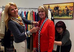 Ashley Borders, Paula Fogarty, Paige Striebig (left to right), Fitting for Goodwill Fashion Show