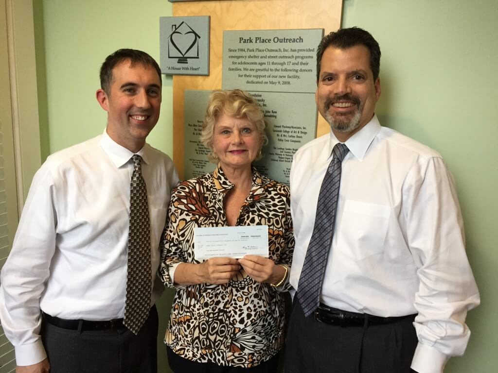 Bank of America Donation to Park Place Outreach (LEFT TO RIGHT) Todd Cellini, Linda Hilts and Chris Sotus