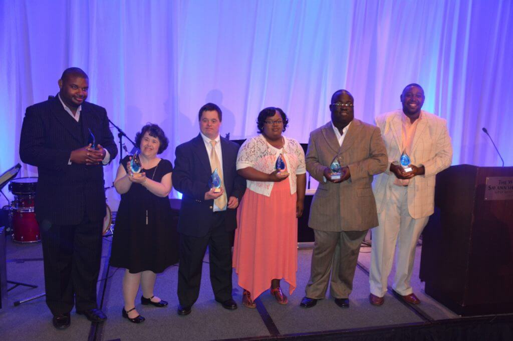 (LEFT TO RIGHT) Willie Baker, Lee Brown, Ryan Peck, Monique Shields, Charles Brown, Frank Williams III, named this year's Champions at the Lowcountry Down Syndrome Society's Night of Champions gala at the Westin Savannah Harbor Golf Resort & Spa.