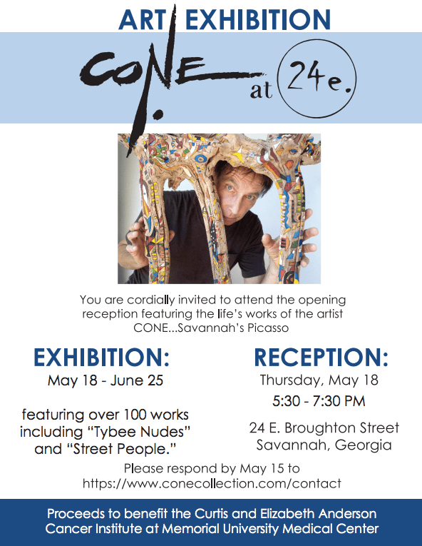 Flyer for The Cone Collection Exhibit Benefitting Anderson Cancer Institute