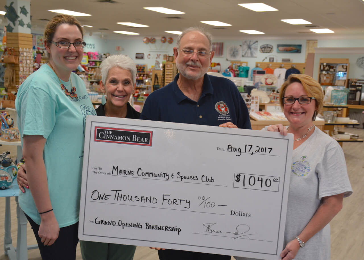 Cinnamon Bear presents check to MARNE