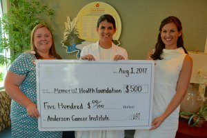 Low Country Dermatology Dr. Corinne Howington Donates 500 to the Anderson Cancer Institute and Memorial Health Foundation 2017