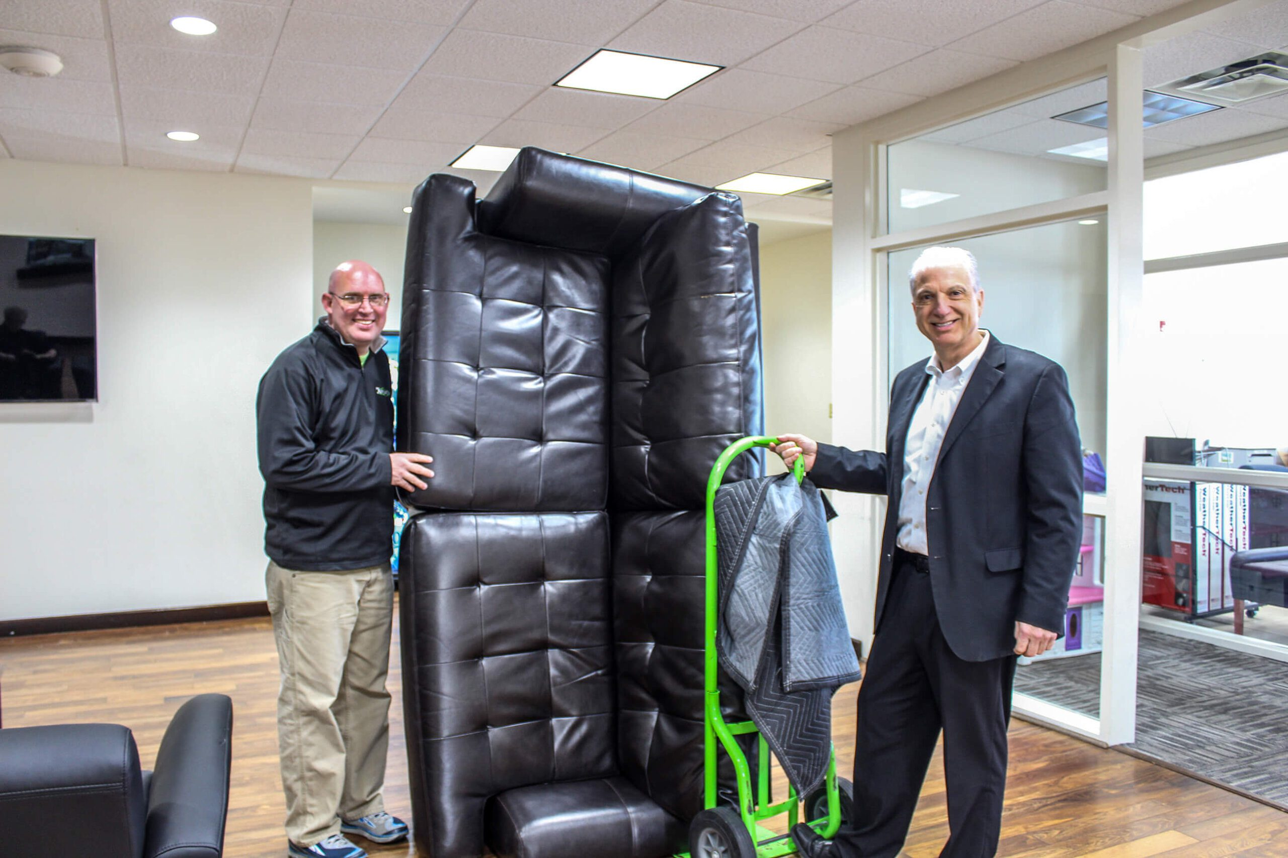 Peacock Automotive donates used furniture.